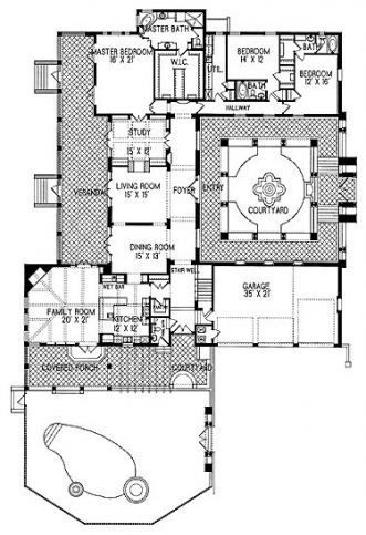 New House Plans With Courtyard Spanish Style Dream Homes 19 Ideas Spanishstylehomesbathroo In 2020 With Images Mediterranean Style House Plans Spanish Style Homes New House Plans