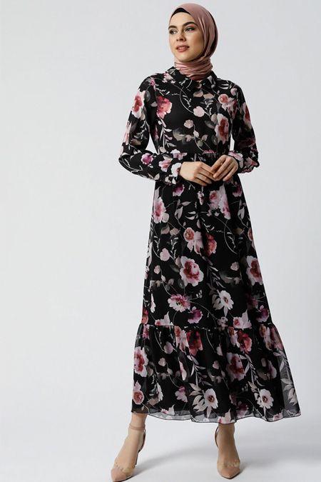 Siyah Volan Detayli Cicekli Elbise 2020 Cicekli Elbise Elbise Moda Stilleri