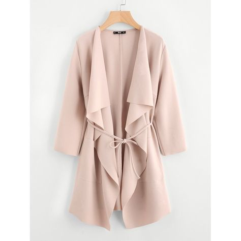 Product name: Waterfall Collar Pocket Front Wrap Coat at SHEIN, Category: Outerwear
