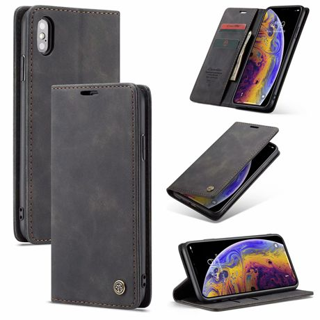 Caseme Iphone X Anti Fall Retro Leather Wallet Case Black In 2020 Leather Wallet Case Pu Leather Wallet Wallet Case