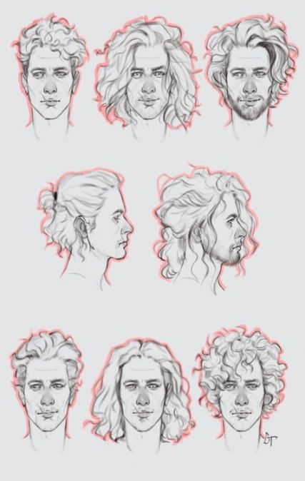 How To Draw Wavy Hair Male : Drawing, Ideas, Curly, Drawing,, Hair,