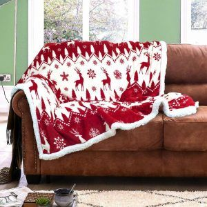 Flannel Sherpa Fairisle Red Sofa Throw Luxury Sofa Bed Flannel Bedding