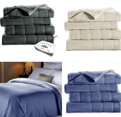 Sunbeam Fleece Electric Heated Blanket King Queen Full Twin ASSORTED Colors NEW
