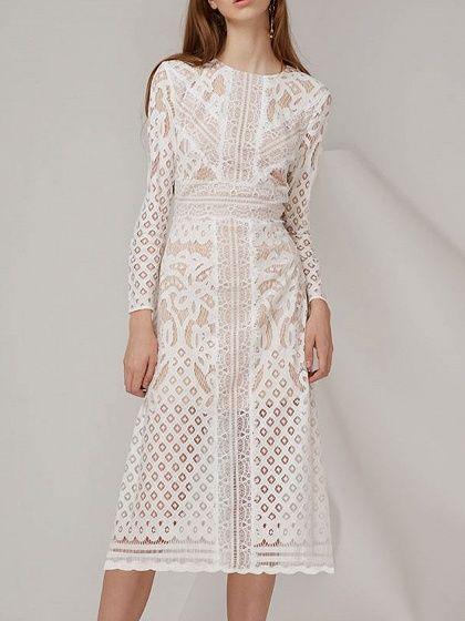 White Lace Overlay Long Sleeve Midi Dress 40 Choiescom