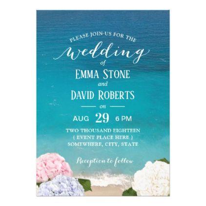 Hydrangea Floral Beach Wedding Party Invitation Zazzle Com Beach Theme Wedding Invitations Wedding Party Invites Wedding Party Cards