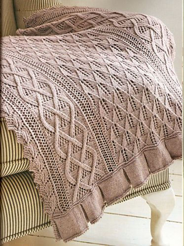Ravelry: Celtic Leaves pattern by Judy Furlong - a gorgeous cabled throw with eyelet details knit in Zealana Kia Ora Kiwi Laceweight