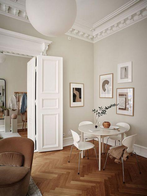 A Characterful Gothenburg Apartment in Warm Neutral Tones #neutralhomedecor #apartmentinspo