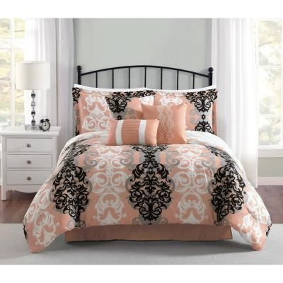 Carmela Home Downton 7 Piece Coral Queen Comforter Set Ymz008008 The Home Depot Comforter Sets Queen Comforter Sets King Comforter Sets