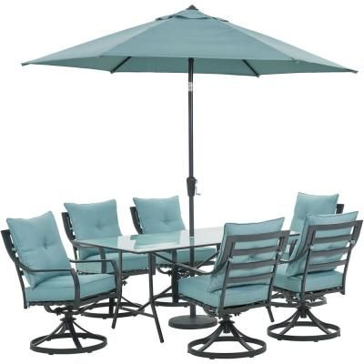 Hanover Lavallette 7 Piece Outdoor Dining Set With Table Umbrella And Base Domeikavos Vila Lt