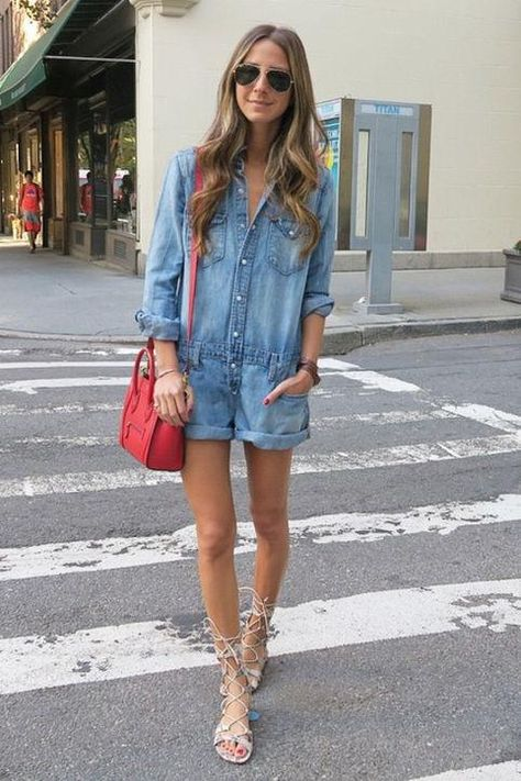 4th of July outfit idea: Something Navy in a denim romper, red Celine bag, and lace-up gladiator sandals