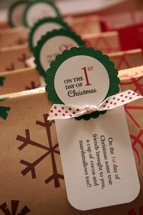 12 Gifts of Christmas! This would be the most thoughtful thing to do for a best friend or special neighbor. Could do homemade cocoa mix, a special hand-crafted ornament, freshly baked cookies, etc! I have just the neighbors in mind :)
