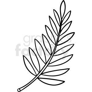 Cartoon Fern Leaf Black White Vector Clipart Royalty Free