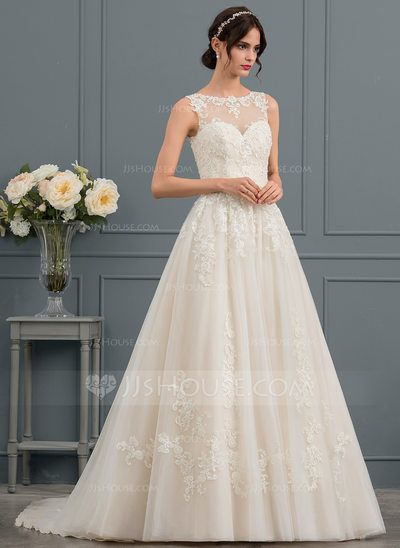 Us 331 00 Ball Gown Princess Illusion Chapel Train Tulle Lace Wedding Dress With Beading Sequins Jj S House Ball Gowns Wedding Dresses With Straps Bridal Dresses