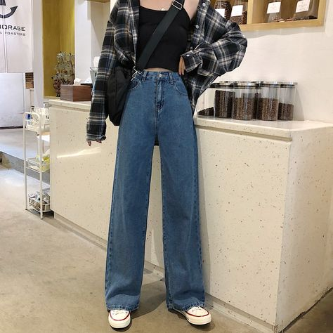 For Sale - High Waist Jeans For Women Vintage Long Denim Pants Female Vintage Casual Loose Full Length Wide Leg Pants Trousers Cute Casual Outfits, Retro Outfits, Vintage Outfits, Vintage Pants, Casual Korean Outfits, Button Down Shirt Outfit Casual, Cute Pants Outfits, Vintage Clothing Styles, Skater Girl Outfits