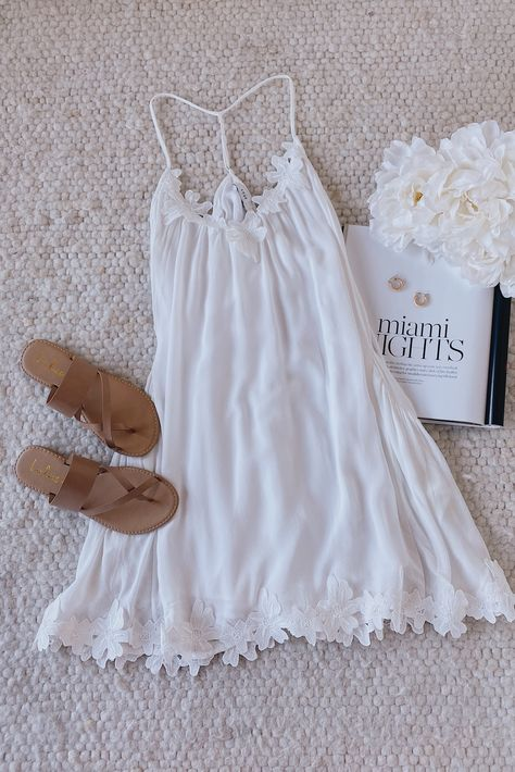 Lulus Lily Love Ivory Shift Dress Floral is perfect for summer days! Lace appliques decorate the triangle breezy bodice and hem. While a while a T-strap back adds extra back interest. Style with standals for a cute summer outfit. #lovelulus