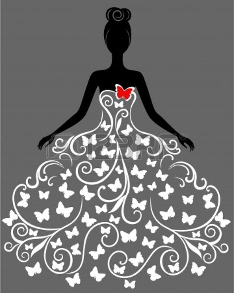 silhouette of young woman in dress Stock Vector - 17466699