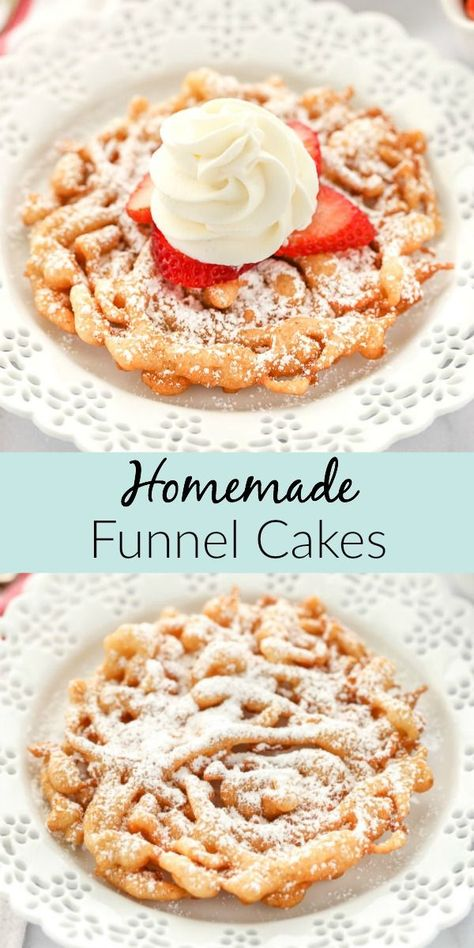 This easy homemade funnel cake recipe tastes just like the classic fair favorite. Top these with some powdered sugar or your favorite topping for a simple treat that everyone will love! #funnelcake #fairfood #homemadefunnelcake