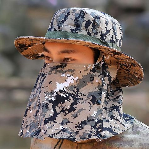 1cdeaded43c Man Summer Sun Hat Bucket Hat Summer Camouflage Sunscreen Hatband Windbreak  Rope Fisherman Hat Outdoor Sports