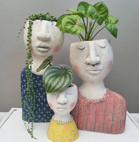 head planters lady planters girl planters woman planters for houseplantsWhen you have plants on the brain 🧠🤣 Repost from using - So in love with this trio from…Your styling is always impeccable. Thanks for sharing your new family portrait Pot