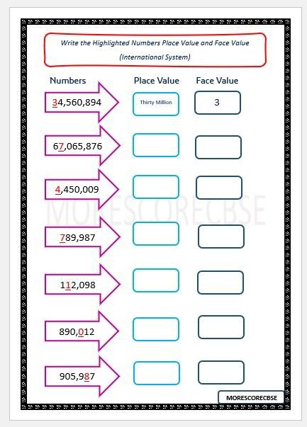 Writing Place Value And Face Value In International System Grade 5 Math Worksheets Math Worksheet Place Values