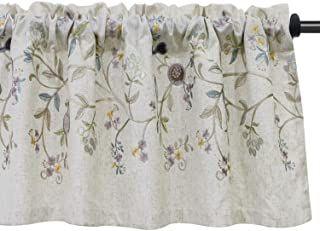 Vogol Floral Embroidered Pattern Kitchen Valances For Windows