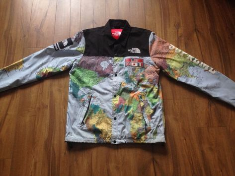 Supreme X Tnf The North Face Ss14 Expedition Atlas Maps Jacket 100 Authentic Ebay Link The North Face North Face Jacket Mens Outfits