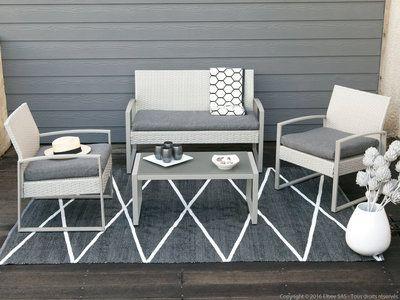 Salon de jardin 4 places en acier et résine tressée : 1 table basse ...