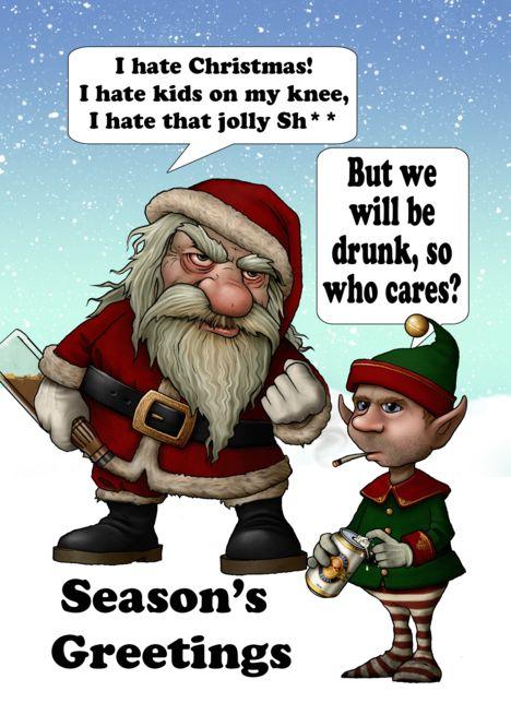 Bad Christmas Jokes.Bad Santa Humor Christmas With Drunk Santa And Elf Card