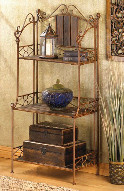 Elegant Rustic Wood And Metal Storage Baker S Rack Shelf Rustic