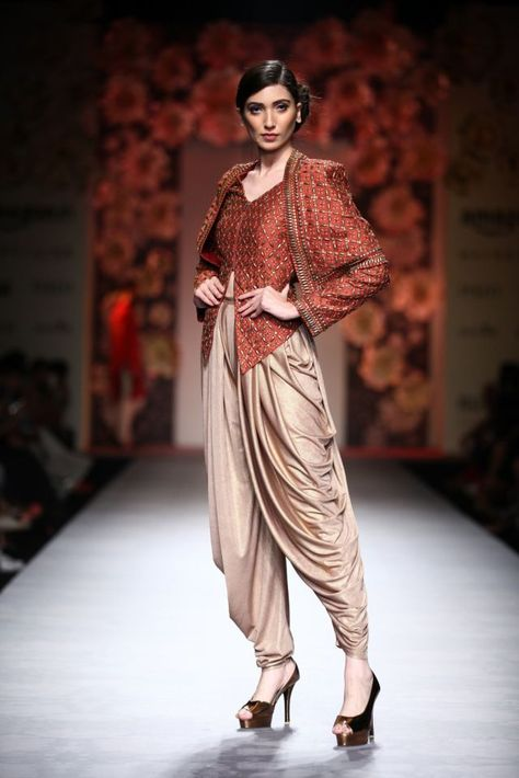 Sidhartha Tytler presents Brown textured cape jacket with crystal beige dhoti pants available only at Pernia's Pop Up Shop.
