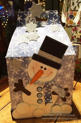 My Local Team Christmas Party - Third place gift exchange swap went to Cathy Stephenson and her adorable punch art snowman box