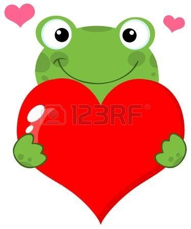 heart: Cute Frog Holding A Heart