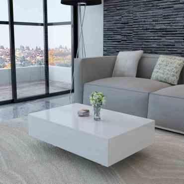 Cette Table Basse Rectangulaire Haute Brillance Blanche A Un Look Moderne Et Elegante Et Comp Table De Salon Table Basse Haute Meubles De Salon Blanc