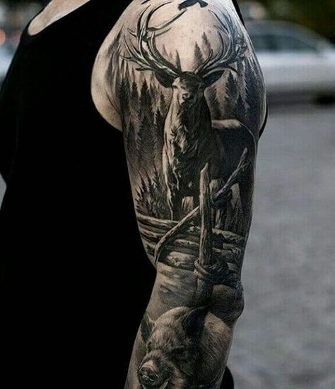 Realistic Deer In The Woods Sleeve Tattoo Venice Tattoo Art with regard to measurements 1080 X 1276 Full Sleeve Hunting Tattoos - Sleeve tattoos are