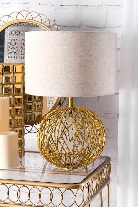 Revere 20 Inch Modern Gold Lattice Ball Table Lamp Gold Lamp Lamp Table Lamp Gold Table Lamp