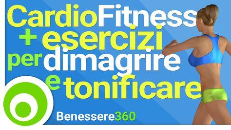 Esercizi di cardio fitness da fare a casa per bruciare calorie, dimagrire ed eliminare il grasso in eccesso dai punti critici, allenamento a circuito con mus...