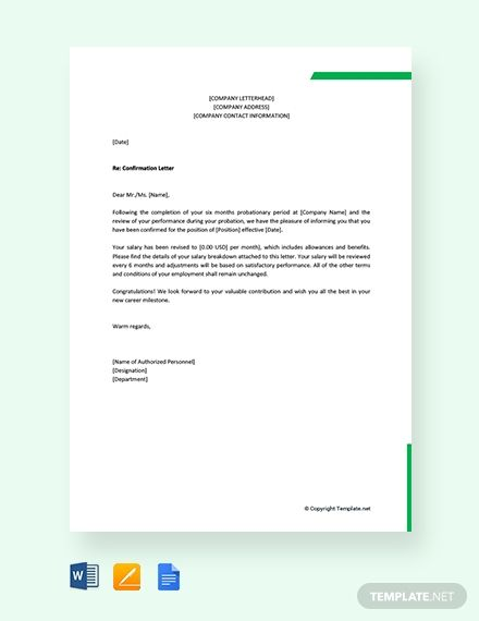 Free Company Confirmation Letter Template Word Google Docs Apple Pages Confirmation Letter Letter Template Word Lettering