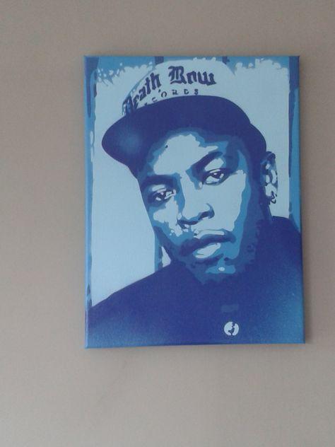Items similar to Dre Dre spray paint painting on canvas stencils hip hop rap music west coast los angeles death row records pale blue dark blues producer pop on Etsy
