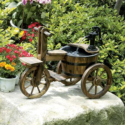 Solar Powered Wooden Tricycle With Barrel And Pump Garden Water Feature | Garden  Water Features, Water Features And Barrels