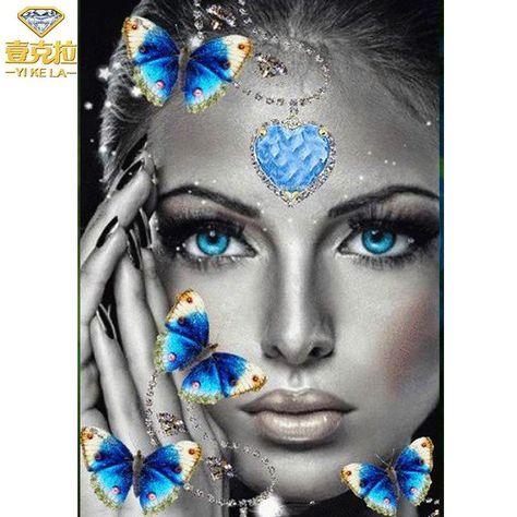 DIY Diamond Painting. Blue Heart Eyes and Butterflies