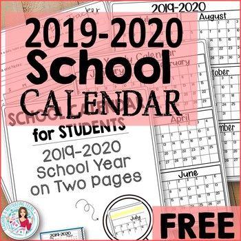 School Calendar 2014-2020 2019 2020 Back to School Calendar for Students & Teachers, All