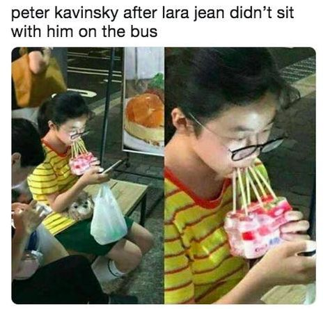 """""""Peter Kavinsky went to the other side of town to get Lara Jean some Yakult and I can't even get a text back. Lara Jean, Big Brother Quotes, Little Boy Quotes, World Quotes, Tv Quotes, Family Quotes, Lifehacks, Ps I Love, Bad Puns"""