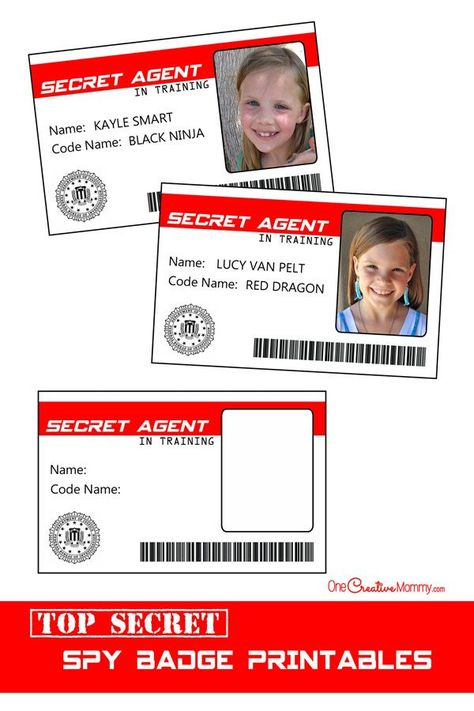 Official spy badges -- perfect for a Spy Birthday Party!