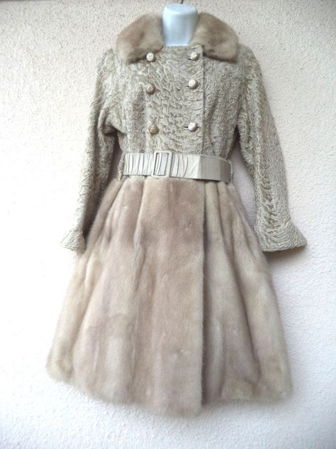 Vintage 60s Persian Lamb Fur Fitted COAT Taupe Mink Trim Princess Dress Jacket S