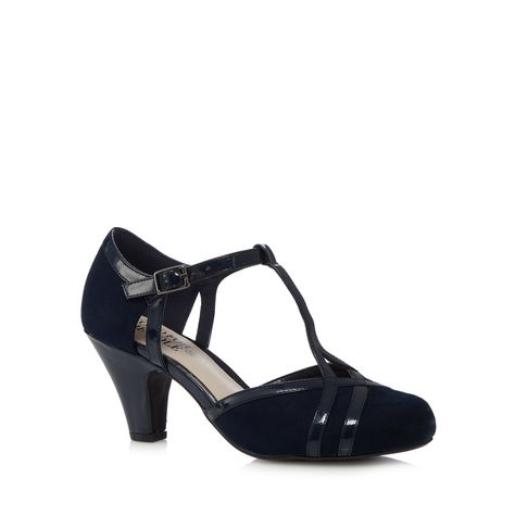 Simply Be Sole Diva T-bar Court Shoes EEE Fit ($41) ❤ liked on Polyvore  featuring shoes, pumps, heels, navy, navy shoes, wide heel pumps, navy blue…