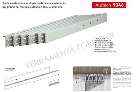 Ferramenta Per Tavoli Allungabili.Omge 9346 35 Coppia Guide Telescopiche In Alluminio Per Consolle