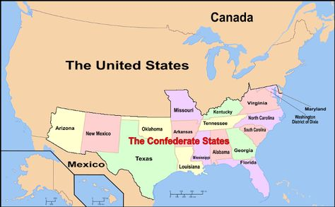 Confederate States Of America Map Pinterest