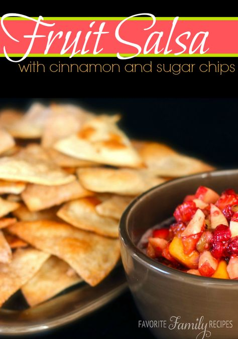 This fruit salsa is so addicting and delicious. And the chips are baked so that makes it a little healthier, right? #cinnamonchips #fruitsalsa
