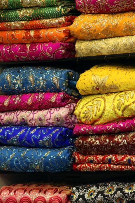 Colorful Sari Shop in Old Delhi Market, Delhi, India Print Wall Art By Kymri Wilt - Walmart.com