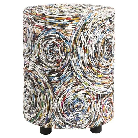 Stool crafted from upcycled magazines